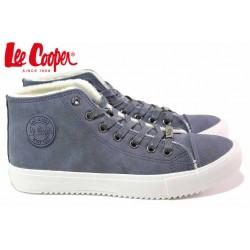 Юношески високи кецове, кожени, зимни, връзки, леки / Lee Cooper 20-31-012 син / MES.BG
