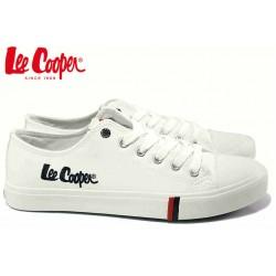 Юношески кецове, леки, гъвкави, кожени, закопчаване - връзки / Lee Cooper 20-30-061 бял / MES.BG