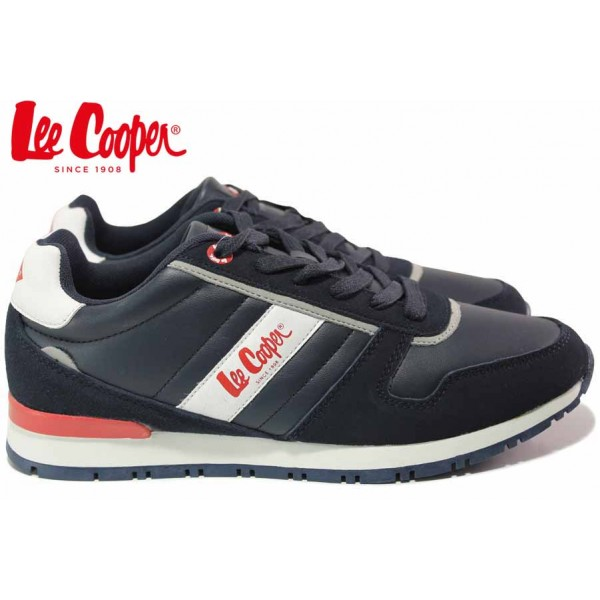 Мъжки маратонки, кожени, класически, гъвкави, връзки / Lee Cooper 202-08 син / MES.BG