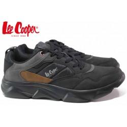 Леки мъжки маратонки, еко-кожа, текстил, гъвкави, връзки / Lee Cooper 20-29-011B черен / MES.BG