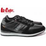 Класически мъжки маратонки, еко-кожа, гъвкави, връзки / Lee Cooper 202-08 черен / MES.BG