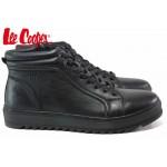 Високи мъжки кецове, топли, естествена кожа, боти, олекотени / Lee Cooper 20-33-101B черен / MES.BG