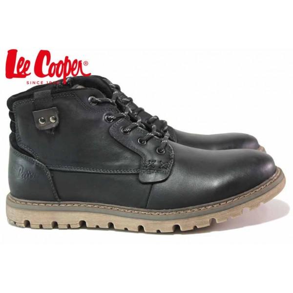 Мъжки боти, естествена кожа, класически, топли, леки / Lee Cooper 20-33-111B черен-т.кафяв / MES.BG