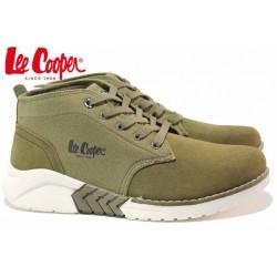 Мъжки кецове, високи, естествен велур, леки, модерни / Lee Cooper 202-09 зелен / MES.BG
