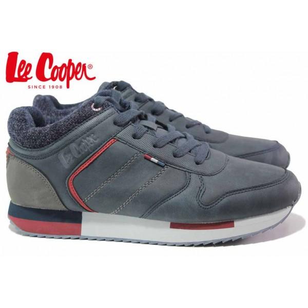 Мъжки маратонки, спортни, еко-кожа, топли, високи кецове / Lee Cooper 20-29-032B син / MES.BG
