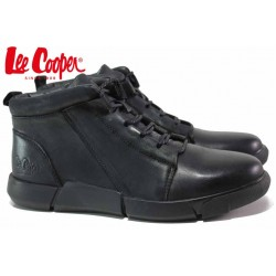 Мъжки боти, естествена кожа, топли, високи кецове, леки, гъвкави / Lee Cooper 20-33-072B черен / MES.BG