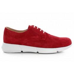 Български спортни обувки, дамски, естествен велур, еластично ходило / МН Olga червен / MES.BG