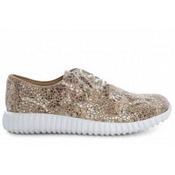 Български спортни обувки, дамски, естествена кожа, равни, атрактивен десен / МН Olga силвър / MES.BG