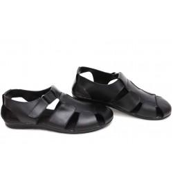 Анатомични мъжки сандали, естествена кожа, велкро закопчаване, гъвкаво ходило / НЛМ 244-2187 черен кожа / MES.BG