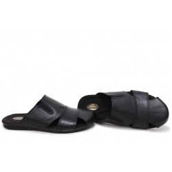 Мъжки български чехли, анатомични, естествена кожа, гъвкави / НЛМ 290-2187 черен кожа / MES.BG