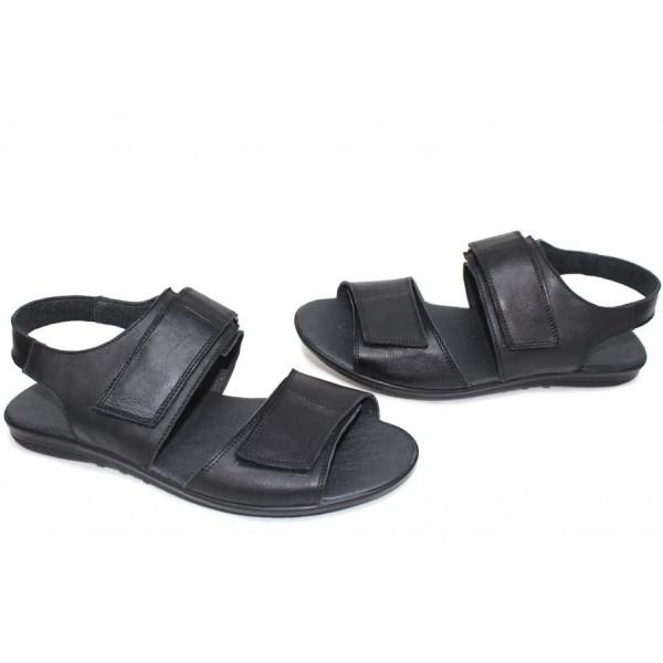 Мъжки български сандали, изцяло естествени, анатомични, пластични / НЛМ 331-2187 черен кожа / MES.BG