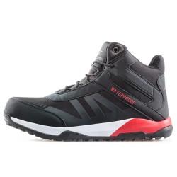 Водоустойчиви мъжки спортни боти с топъл хастар / Bull 92032 черен-червен / MES.BG