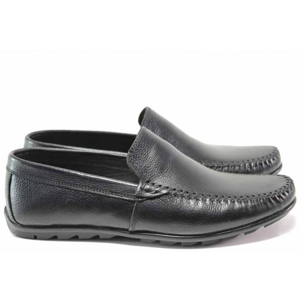 Анатомични мъжки мокасини от естествена кожа ТЯ 3404 черен   Мъжки ежедневни обувки   MES.BG