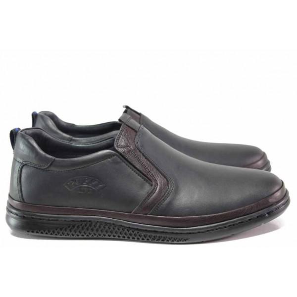 Мъжки ортопедични обувки; без връзки; леко еластично ходило; изцяло естествена кожа / ПИ 877 черен-бордо / MES.BG