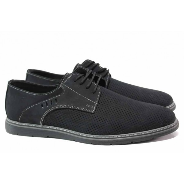 Мъжки обувки за ежедневието; 100% удобство; набук; мека кожена стелка / ЛД 382 черен / MES.BG