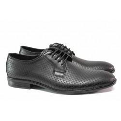 Елегантни мъжки обувки; мека анатомична стелка; връзки; релефна кожа / ЛД 20 черен / MES.BG