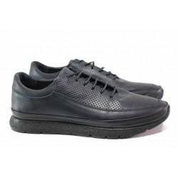 Мъжки ежедневни обувки; кожена анатомична стелка; естествена кожа; връзки при свода / ТЯ 63 син / MES.BG
