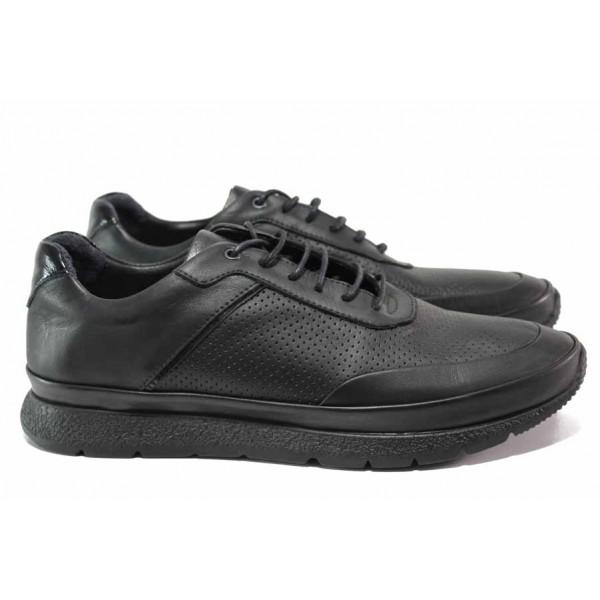 Мъжки обувки за ежедневието; мека анатомична стелка; огъваемо ходило; естествена кожа с декоративна перфорация / ТЯ 61 черен / MES.BG