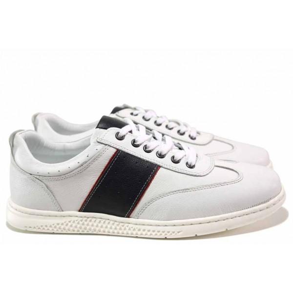Мъжки спортни обувки, изцяло от естествена кожа, леки, гъвкави / МИ 253 бял-син / MES.BG
