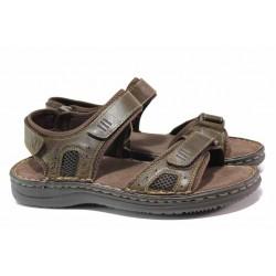 Мъжки сандали с велкро лепенки, естествена кожа, шито ходило / АБ CY13-20 кафяв / MES.BG