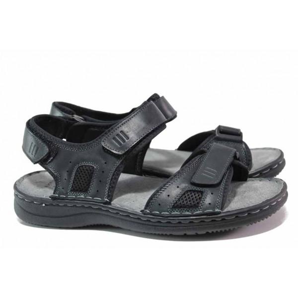 Мъжки сандали с велкро лепенки, лепено и шито ходило, изцяло от естествена кожа / АБ CY13-20 черен / MES.BG
