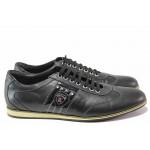 Спортни мъжки обувки, естествена кожа, анатомични, ежедневен модел, декоративен елемент / Ани 1688 черен / MES.BG