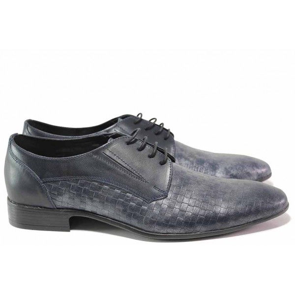 Официални мъжки обувки, елегантни, естествена кожа, анатомични, български, атрактивна плетеница / Ани 1692 син / MES.BG