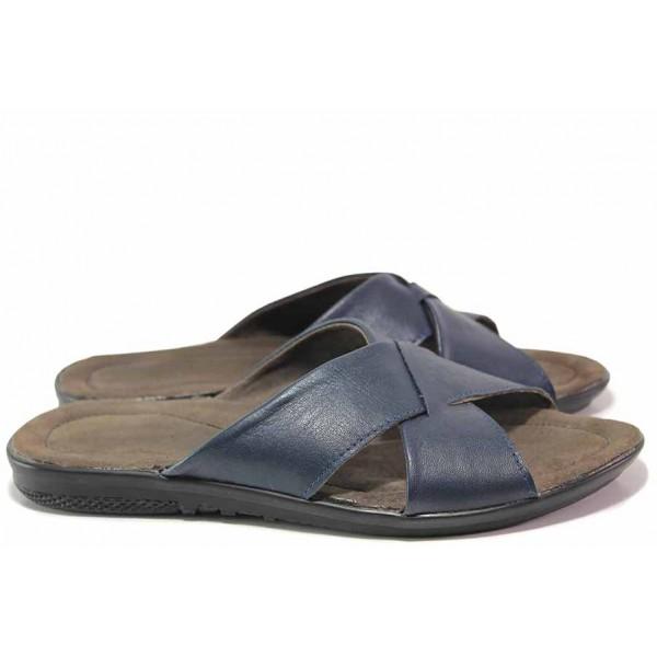 Мъжки чехли, изцяло от естествена кожа, удобни, ежедневни / Ани 241-2187 син / MES.BG