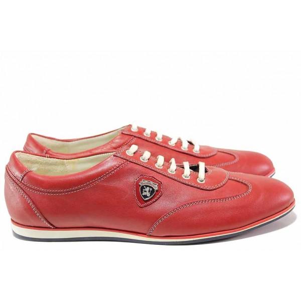 Мъжки обувки, спортни, естествена кожа, ежедневни / Ани 1686 червен / MES.BG