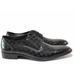Елегантни мъжки обувки, естествена кожа-лак, анатомични, български, шахматен мотив / Ани 1692 черен квадрати / MES.BG
