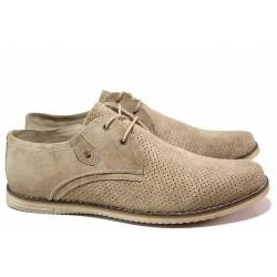 Анатомични мъжки обувки, летни, естествен велур, перфорация / Ани 0714 бежов / MES.BG