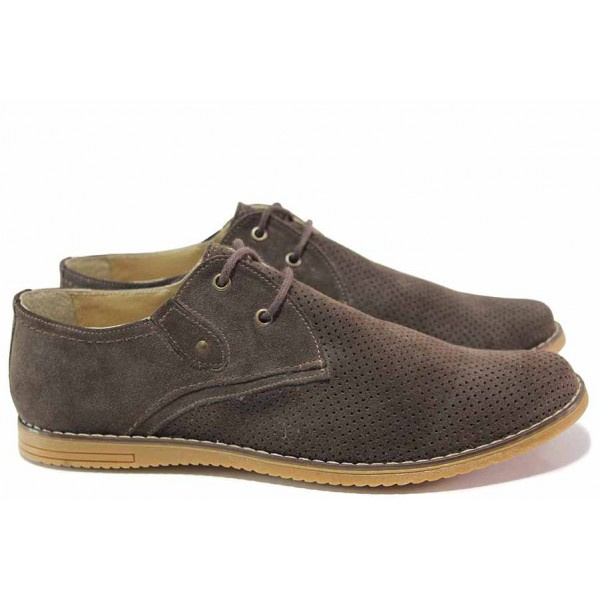 Летни мъжки обувки, анатомични, ежедневни, естествен велур, български / Ани 0714 кафяв / MES.BG