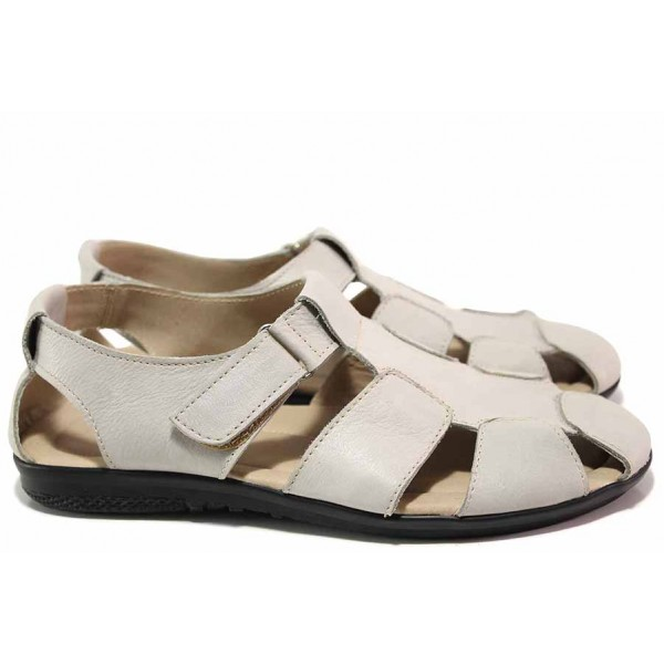 Мъжки сандали с прорези, велкро лепенка, естествена кожа, анатомични, български / Ани 244-2187 св.сив / MES.BG