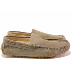 Мъжки обувки, мокасини, естествен велур, гъвкаво ходило, олекотени / Ани 203 таупе / MES.BG