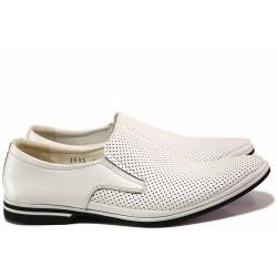 Модерни мъжки обувки, естествена кожа, перфорации, леки, български, анатомични / Ани 1695 бял / MES.BG