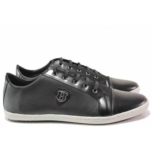 Спортни мъжки обувки, ежедневни, естествена кожа, релеф, анатомични, български / Ани 2005 черен / MES.BG