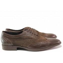 Елегантни мъжки обувки, естествена кожа и естествен велур, анатомични, класически модел / Ани 2144 кафяв / MES.BG