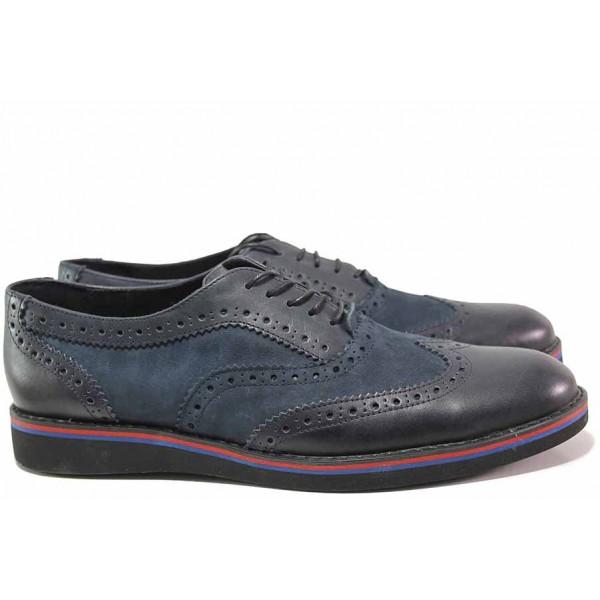 Ежедневни мъжки обувки, естествен набук, естествена кожа, анатомични, български, декоративен лазерен принт / Ани 2144 син / MES.BG