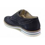 Класически мъжки обувки, естествен велур, анатомични, български / Ани 915 син / MES.BG