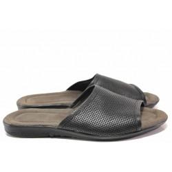 Комфортни мъжки чехли с цяла лента, естествена кожа, гъвкаво ходило / Ани 270-2187 черен / MES.BG