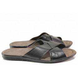 Комфортни мъжки чехли от естествена кожа, гъвкаво и олекотено ходило / Ани 241-2187 черен / MES.BG