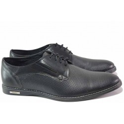 Български мъжки обувки, анатомични, естествена кожа с релефни фигури, спортно-елегантни / Ани 1966-1 черен / MES.BG