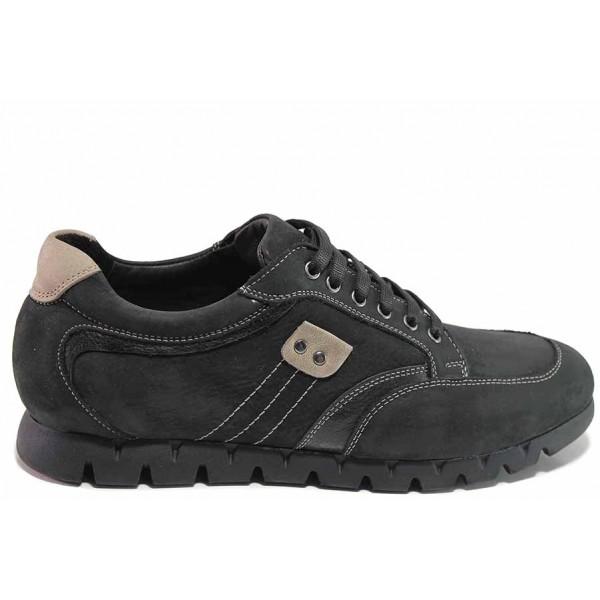 Равни мъжки обувки, изцяло изработени от естествена кожа, гъвкаво ходило, анатомични, всекидневен модел / Ани 2227 черен / MES.BG