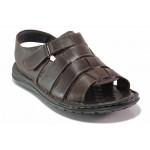 Анатомични мъжки сандали, естествена кожа, пластични ходила, леки / ТЯ 205 кафяв / MES.BG