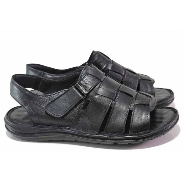 Мъжки сандали, естествена кожа, леки, анатомични, гъвкави ходила, велкро закопчаване / ТЯ 205 черен / MES.BG