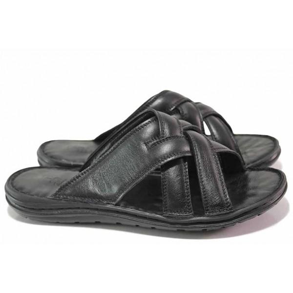 Мъжки чехли, естествена кожа, анатомични, гъвкави, олекотени / ТЯ 123 черен / MES.BG