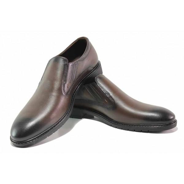 Удобни мъжки обувки, естествена кожа, гъвкаво ходило / МИ 8119 кафяв / MES.BG