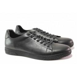 Спортни мъжки обувки, изцяло от естествена кожа, шито ходило / МИ Prada 202 черен / MES.BG