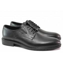 Стилни мъжки обувки, връзки, естествена кожа / МИ 8123 черен / MES.BG
