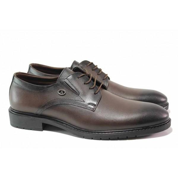 Кожени мъжки обувки със стилна визия, гъвкаво ходило, естествена кожа / МИ 8123 кафяв / MES.BG